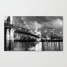 Cincinnati Skyline at Twilight - Black and White Canvas Print