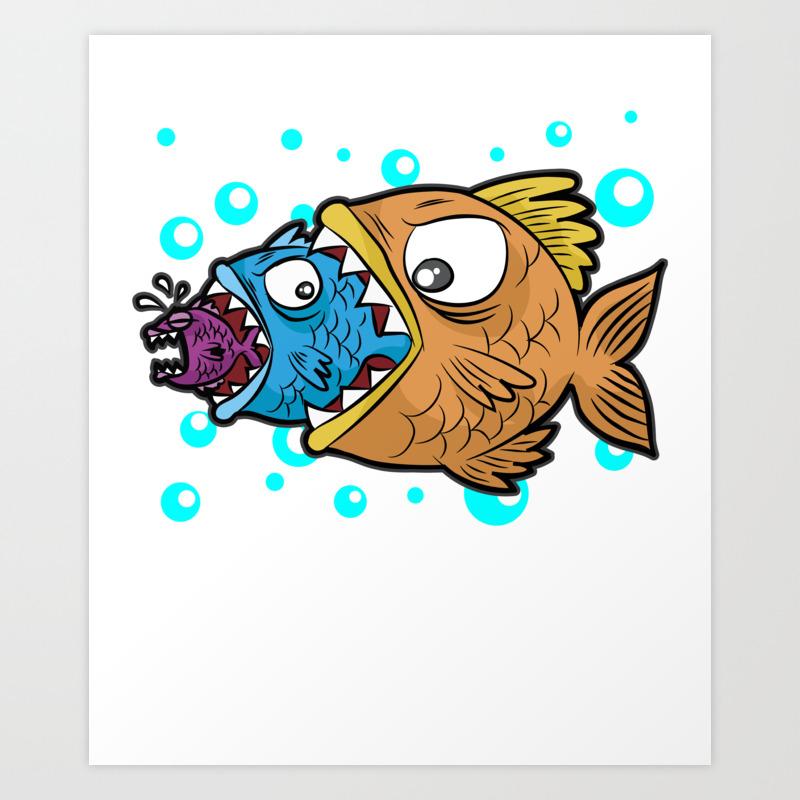 Big Medium Small Fish Eating Food Chain Gift Comic Art Print