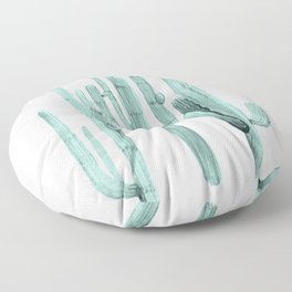 Turquoise Cactus Watercolor Painting Floor Pillow