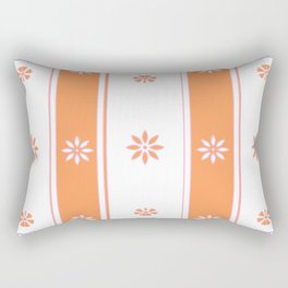 Orange and White Stripe Flower Pattern Rectangular Pillow