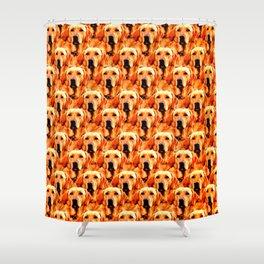 Cool Dog Art Doggie Golden Retriever Abstract Shower Curtain