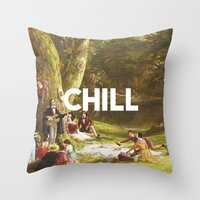 chill Throw Pillows featuring Chill by eARTh