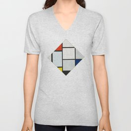 Tableau No. IV: Lozenge Composition with Red, Gray, Blue, Yellow, and Black - Piet Mondrian Unisex V-Neck