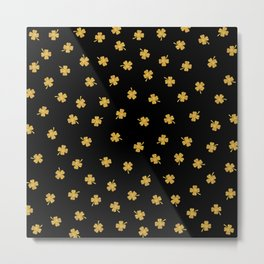 Golden shamrocks Black Background Metal Print