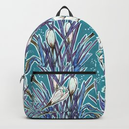 Crocuses, floral pattern in turquoise, blue and white Backpack