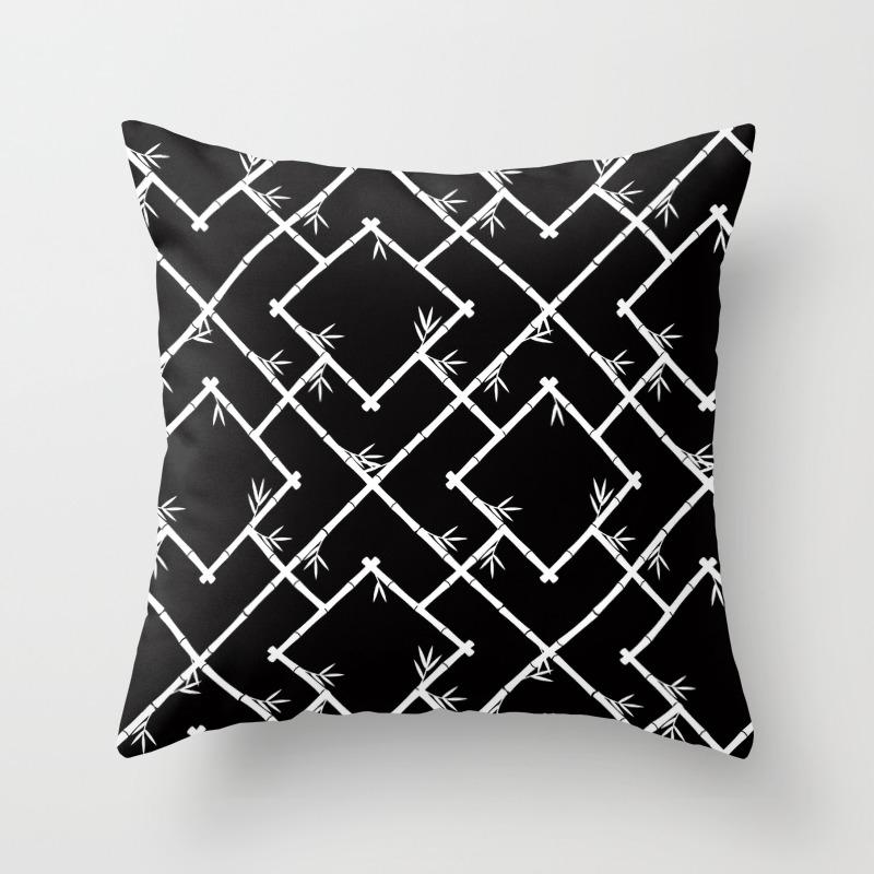 Bamboo Chinoiserie Lattice In Black White Throw Pillow