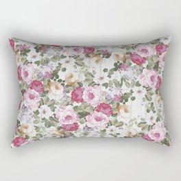 Vintage rustic white wood blush pink floral Rectangular Pillow