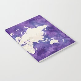 Purple watercolor and light brown world map with outilined countries Notebook