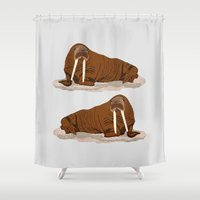 walrus Shower Curtains featuring Pacific Walrus by Arts and Herbs