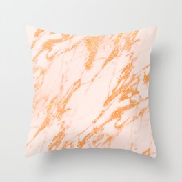 Gold Marble - Intense Rose Gold Glitter Metallic Marble Throw Pillow