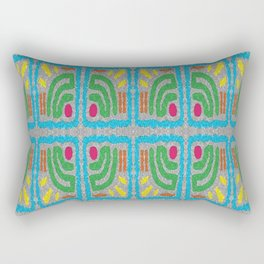Square Stamp Multi Blue Rectangular Pillow