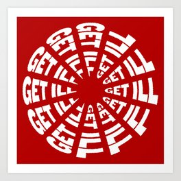 Time to Get Ill Clock - Red Art Print