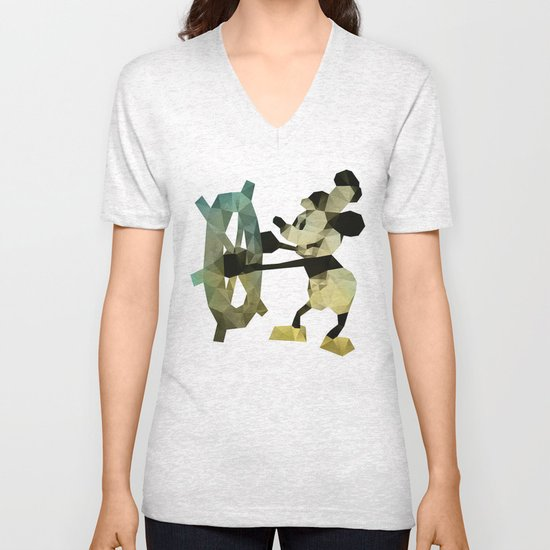 Mickey Mouse as Steamboat Willie Unisex V-Neck