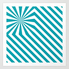 Stripes explosion - Blue Art Print