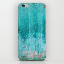 Weathered turquoise concrete wall texture iPhone Skin
