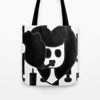 pulp fiction Tote Bags featuring Pulp Fiction by Sky Nash