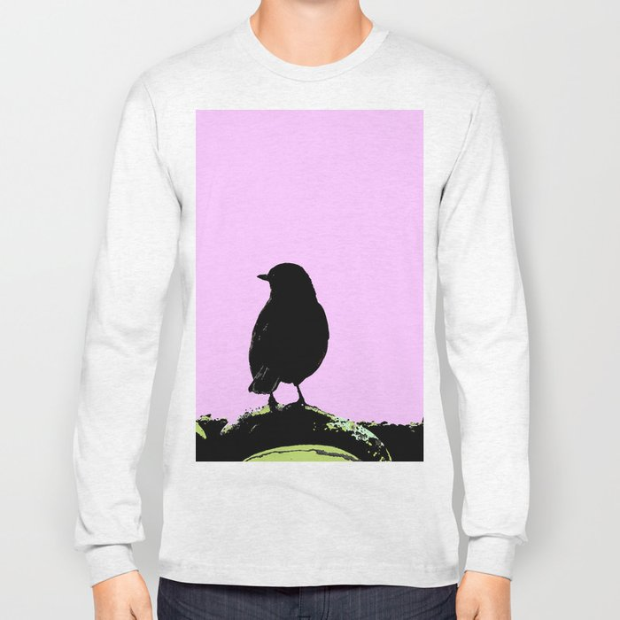 Spring mood - singing bird - black bird on a pink background Long Sleeve T-shirt