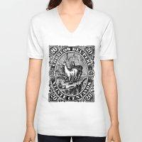 peru V-neck T-shirts featuring Correos del Peru by RubenBer