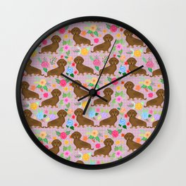 Floral daschhund Weiner dog pattern Wall Clock