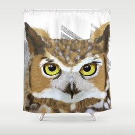 Great Horned Owl & Poly Thoughts Shower Curtain