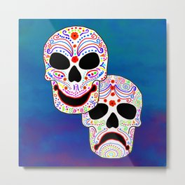 Comedy-Tragedy Colorful Sugar Skulls Metal Print