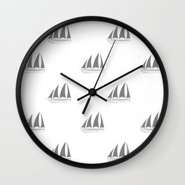 Grey Sailboat Pattern Wall Clock
