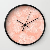 aelwen Wall Clocks featuring Chic hand drawn floral pattern on pink blush by Girly Trend
