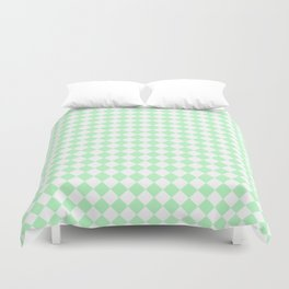 Small Diamonds - White and Mint Green Duvet Cover