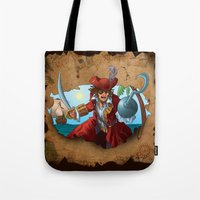 pirate Tote Bags featuring Pirate by scottpratherpaints