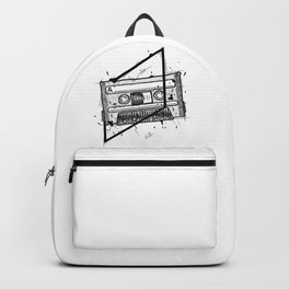 Audio Cassetta Handmade Drawing, Made in pencil and ink, Tattoo Sketch, Tattoo Flash, Blackwork Backpack
