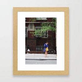 Blue & Yellow Girl Framed Art Print
