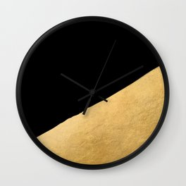 Black and gold abstract geometry (1) Wall Clock