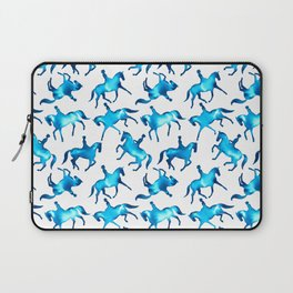 Turquoise Dressage Horse Silhouettes Laptop Sleeve
