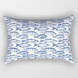 Dark Blue Fish Rectangular Pillow