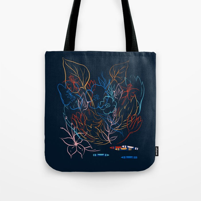 Crayon Flowers // Navy Version  Tote Bag