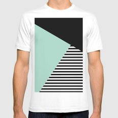Mint Color Block with Stripes // www.penncilmeinstationery.com MEDIUM White Mens Fitted Tee