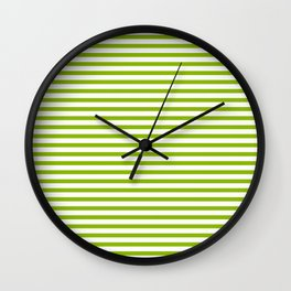 Apple Green & White Maritime Small Stripes- Mix & Match with Simplicity of Life Wall Clock