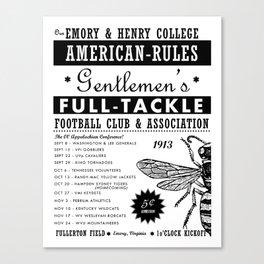 Emory & Henry Football 1913 Poster (Black & White) Canvas Print