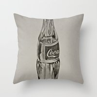 coca cola Throw Pillows featuring Coca-Cola by Lily Patterson