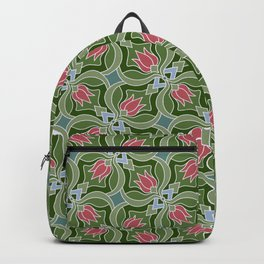 Pink tulips on green background pattern Backpack
