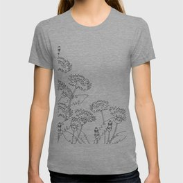 Line drawing of dandelion flowers T-shirt