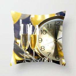 Photo Christmas Clock Champagne Food Stemware New  Throw Pillow