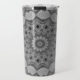 Shades of Grey and Black Mandala Kaleidoscope A128B Travel Mug