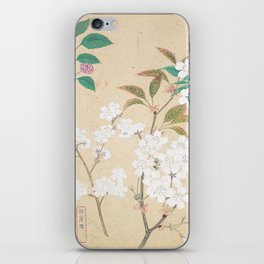 Japanese Botanical Ink and Brush Painting, Hand Drawing Flowers and Calligraphy iPhone Skin