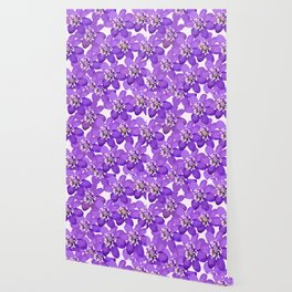 Purple wildflowers on a white background - spring atmosphere Wallpaper