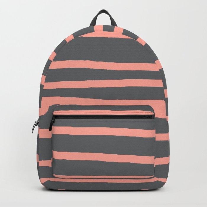 Simply Drawn Stripes Salmon Pink on Storm Gray Backpack