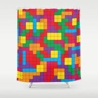 tetris Shower Curtains featuring Tetris Attack by Shannon's Sketchfest