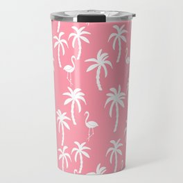 Tropical flamingo and palm trees pattern by andrea lauren cute illustration summer patterns pink Travel Mug