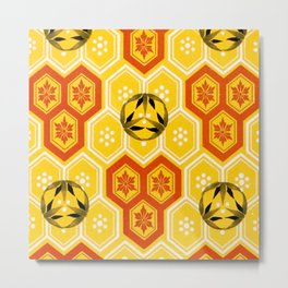 Vintage Asian Geometric Bee Hive Pattern Design Metal Print