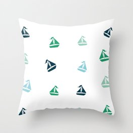 Sailboats Pattern Throw Pillow